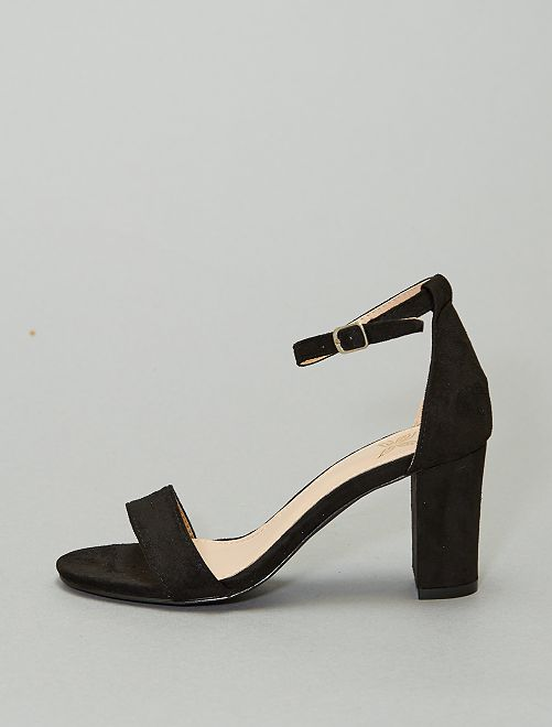 Sandales à talons en suédine                                         noir