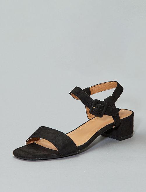 Sandales à talons en suédine                                         noir Femme