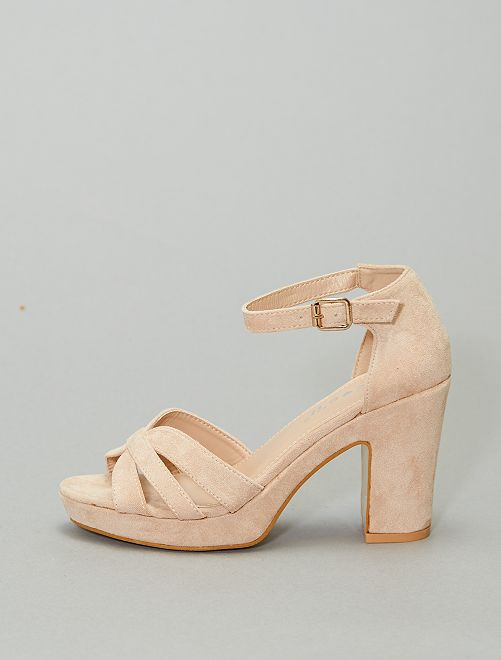 Sandales à talons en textile                                         BEIGE