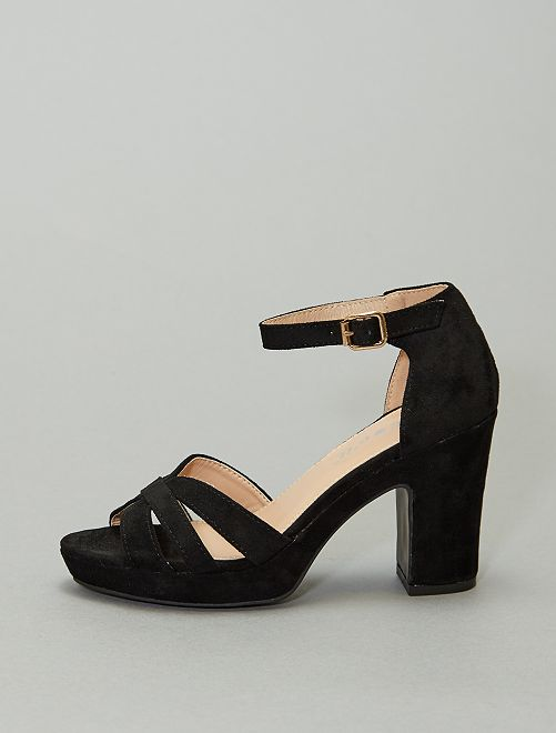 Sandales à talons en textile                                         noir