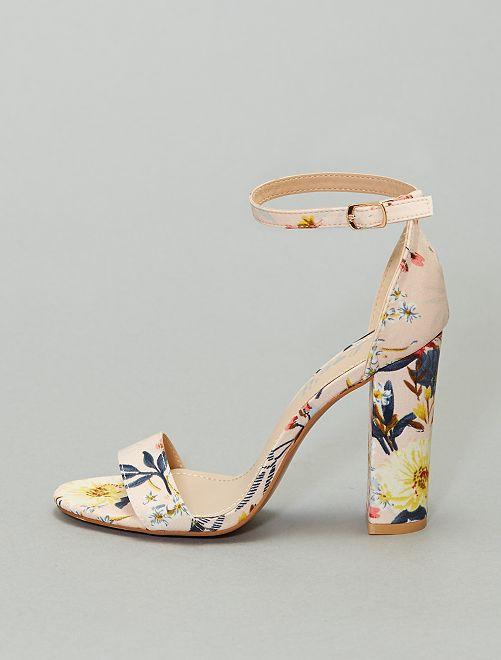 Sandales à talons fleuries                             beige/fleuri