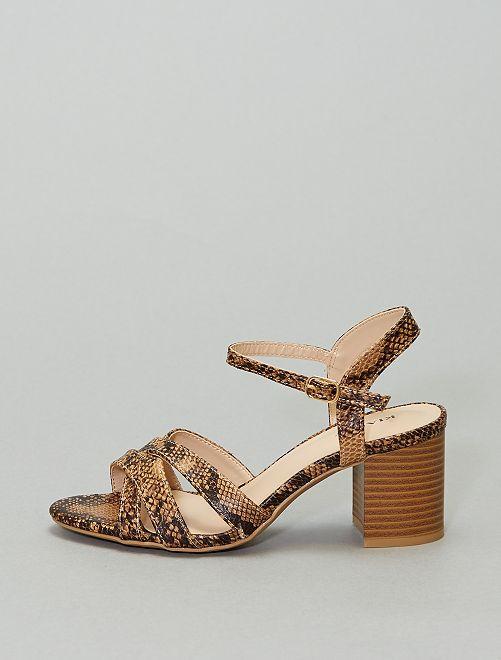 Sandales à talons imprimé 'python'                             marron