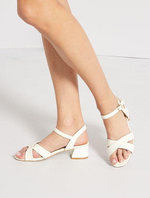 Sandales à talons motifs écailles                             blanc