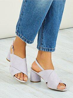 Sandales à talons ronds - Kiabi