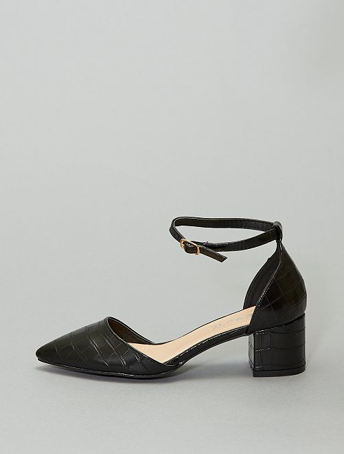 Sandales à talons  texture 'écaille'                             noir