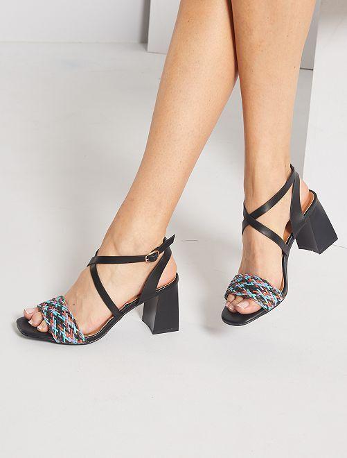 Sandales à talons tressées                             noir