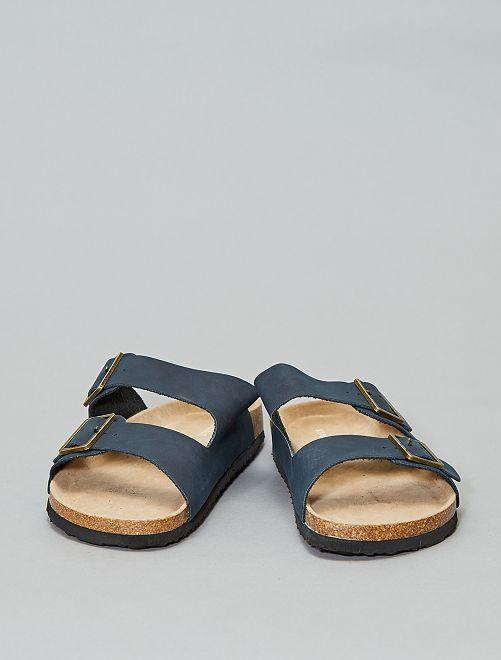 Sandales anatomiques à bride                                         bleu marine