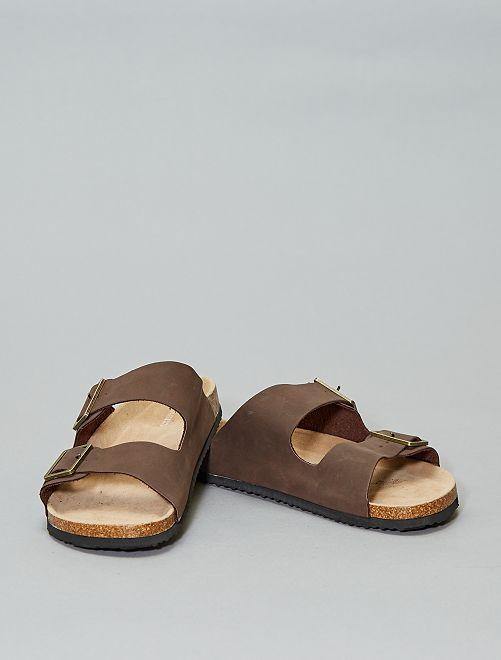 Sandales anatomiques à bride                                         marron
