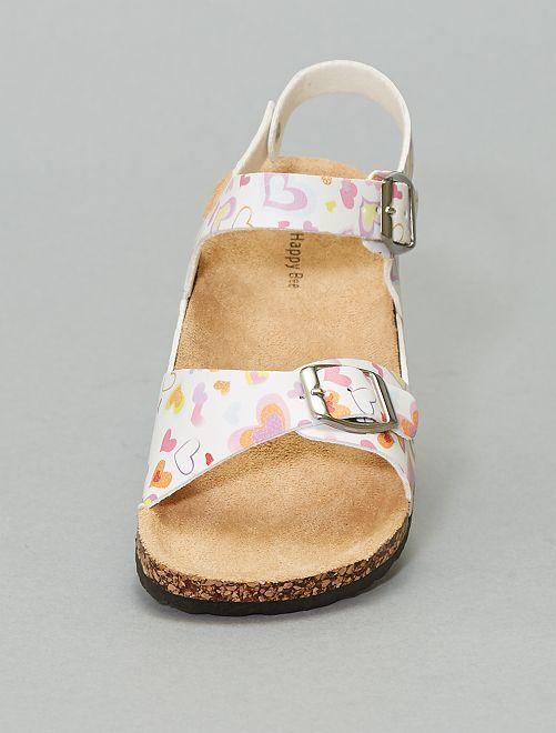 Sandales anatomiques imprimées                             blanc/rose