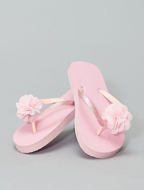 Sandales anatomiques imprimées fleurs                             rose Chaussures