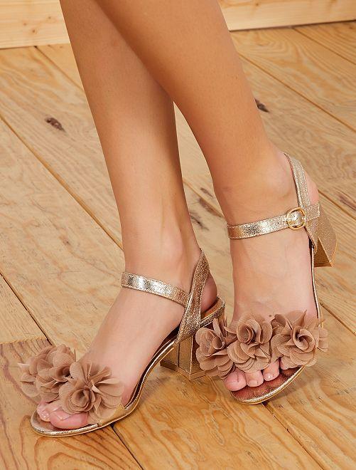 Sandales animées de fleurs                             doré Chaussures