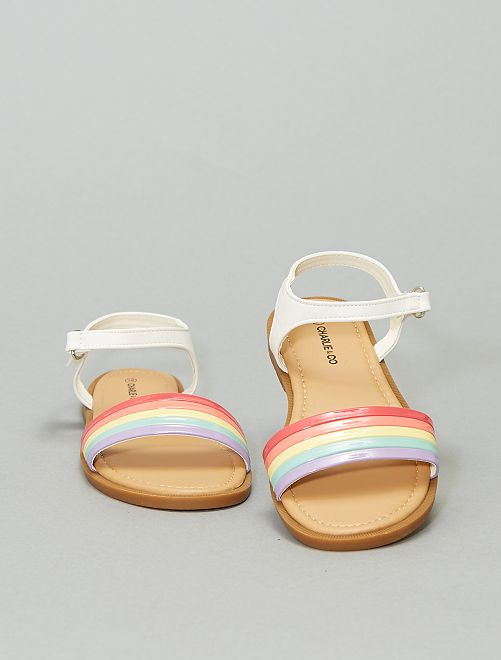 Sandales 'arc-en-ciel'                             blanc/multicolore