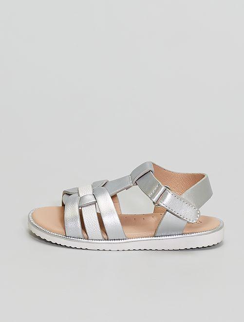 Sandales argentées à scratch                             argent