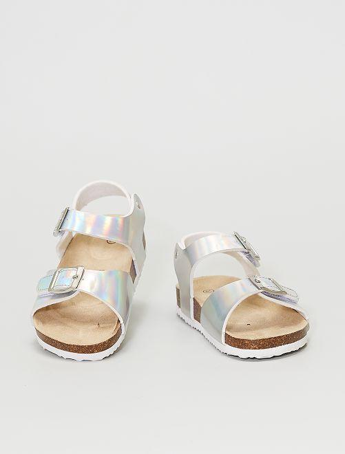 Sandales argentées à scratchs                             argent