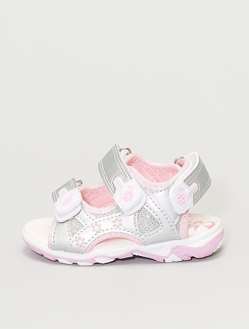 Sandales argentées                             argent/rose