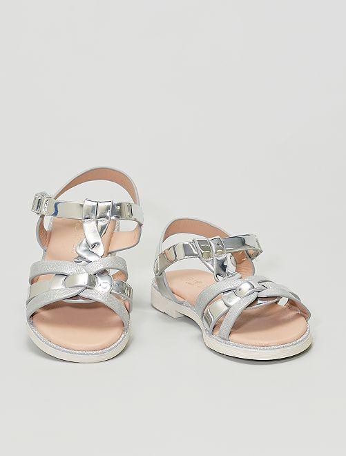 Sandales argentées et pailletées                             argent