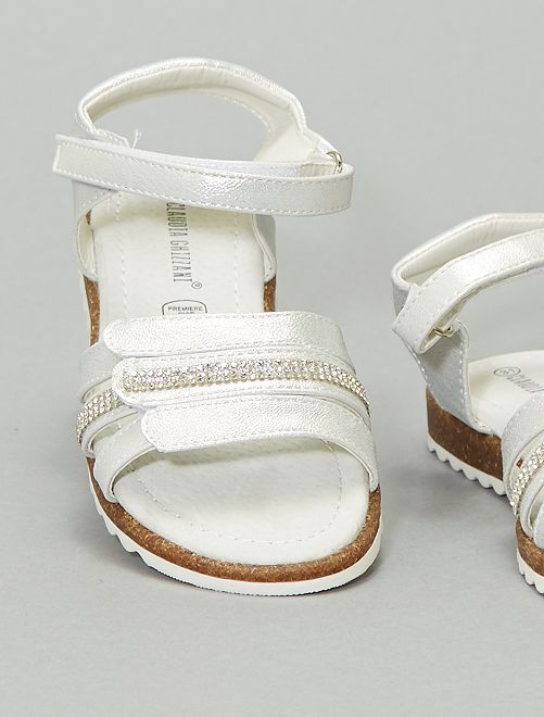Sandales argentées scratchs                             argent