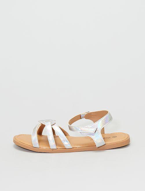 Sandales aspect miroir                             argent