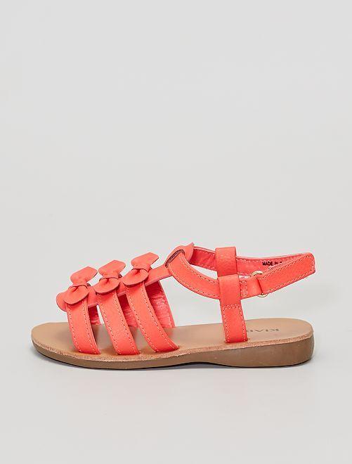 Sandales avec 3 nœuds fantaisies                             rose