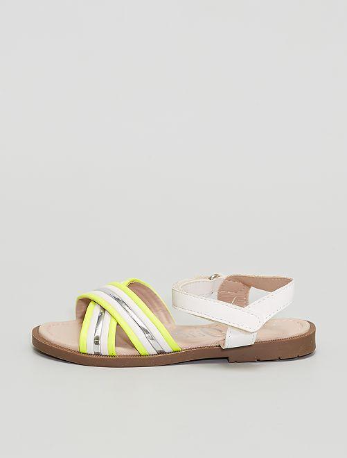 Sandales avec bandes argentées et fluos                             argent
