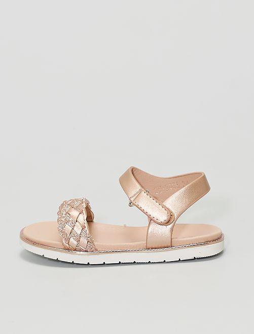 Sandales avec brides tressées pailletées                             beige foncé