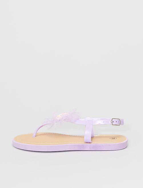 Sandales avec entre-doigts                                         mauve