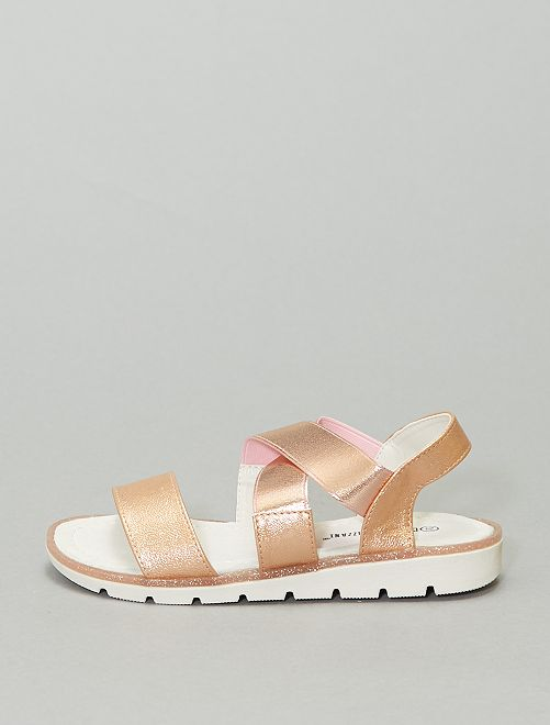 Sandales avec jeu de brides dorés                             rose