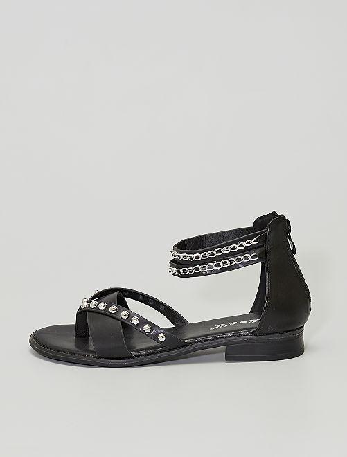 Sandales avec perles et chainettes                                         noir