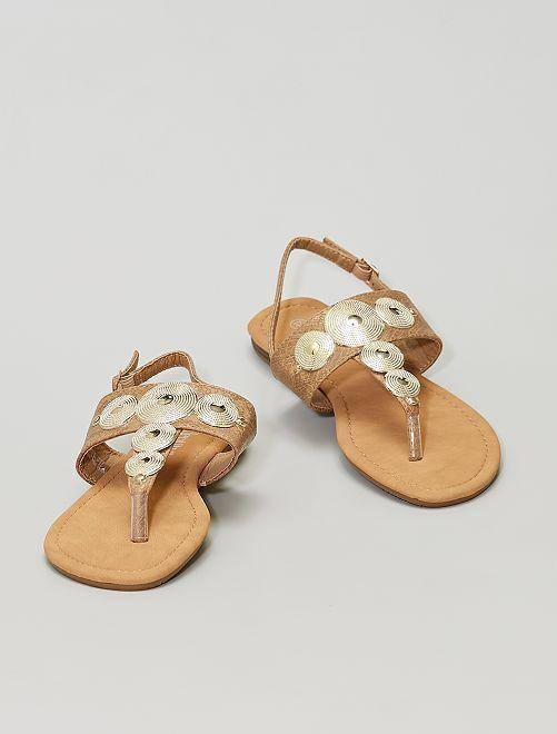 Sandales avec ronds dorés                             BEIGE