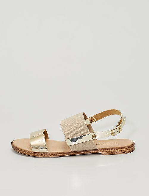 Sandales avec semelles en cuir                             doré