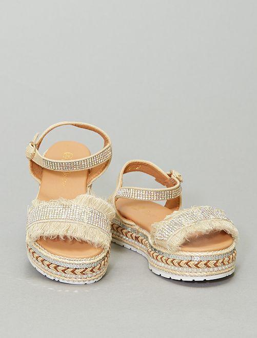 Sandales avec strass et franges                             beige
