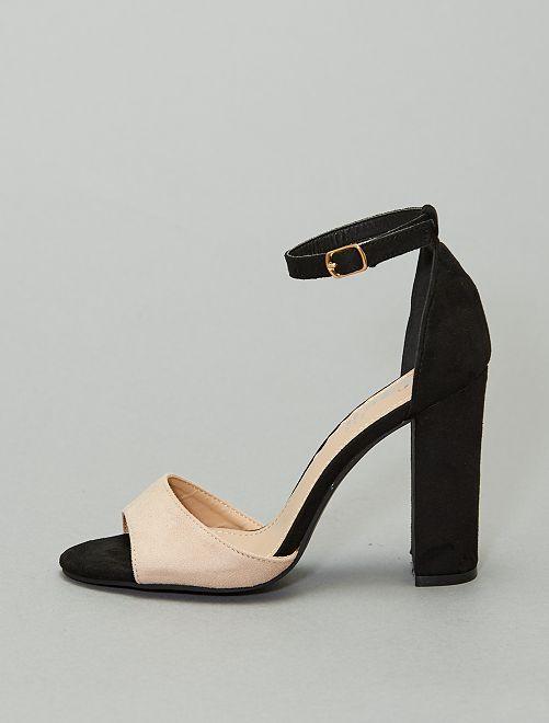 Sandales bicolores à talons                                         beige