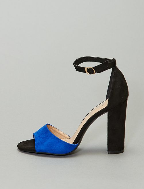 Sandales bicolores à talons                     bleu/noir