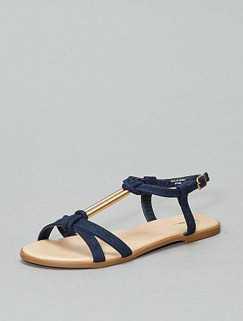 style classique de 2019 clair et distinctif bonne qualité Sandales plates Grande taille femme | bleu | Kiabi