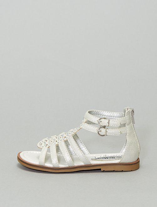 Sandales brides à boucle                             blanc