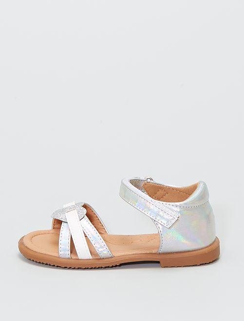 Sandales 'cœur'                             argent