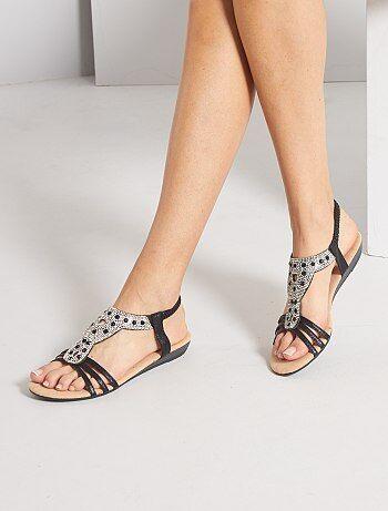 Sandales compensées à strass