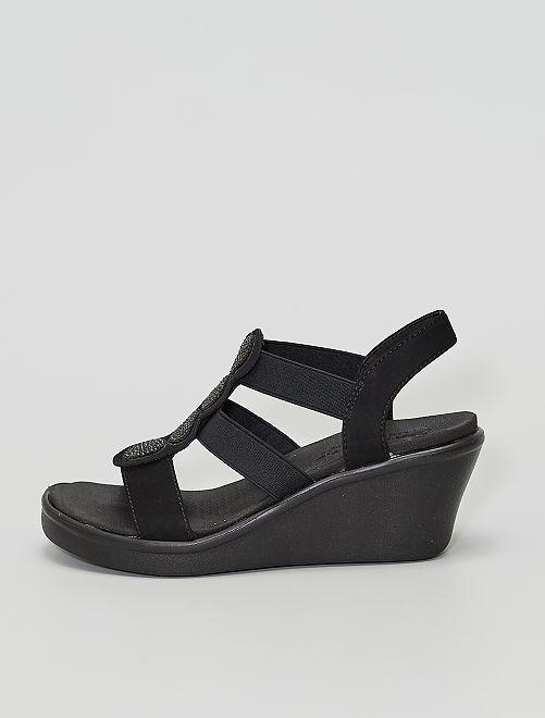 Sandales compensées à strass                             NOIR