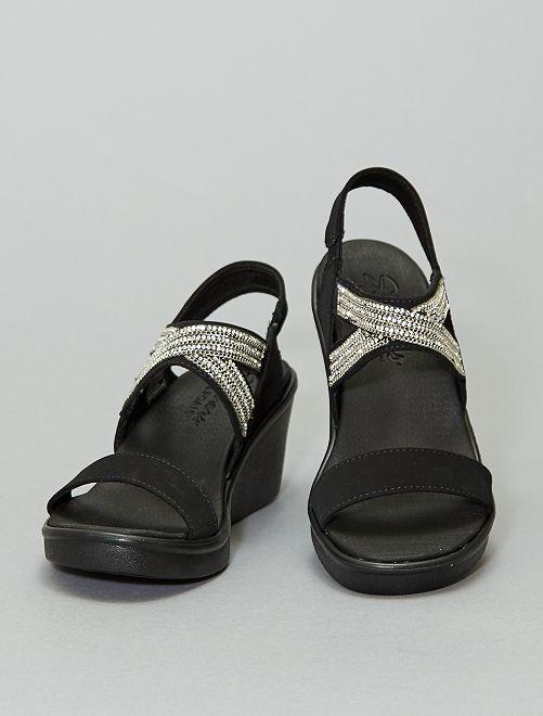 Sandales compensées à strass 'Skechers'                             noir