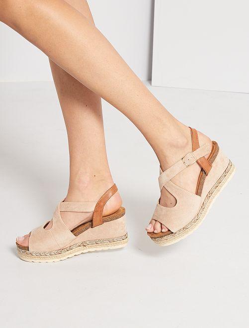 Sandales compensées                                                     beige