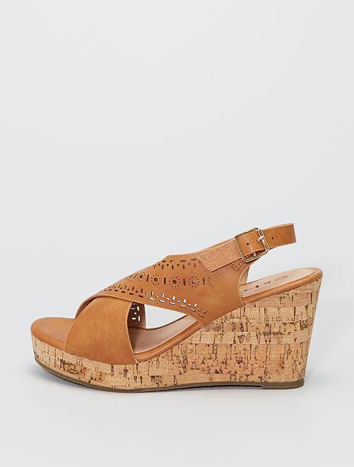 Sandales compensées bords effet liège                             beige
