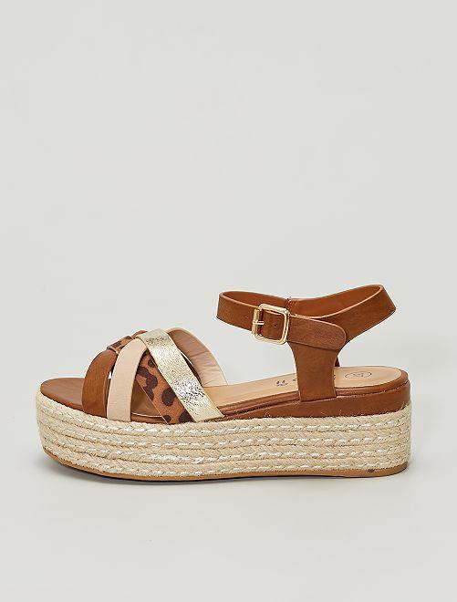 Sandales compensées                     brun