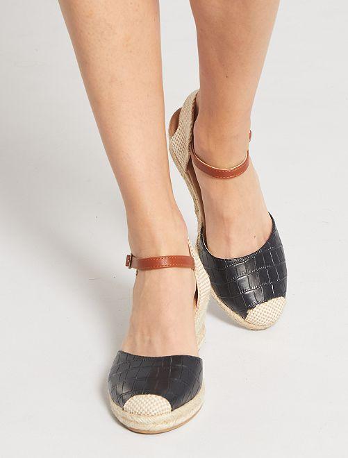 Sandales compensées effet 'croco'                                         noir