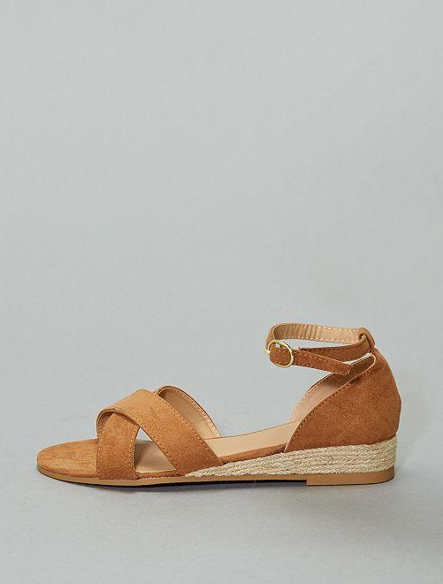Sandales compensées en cordage                             brun