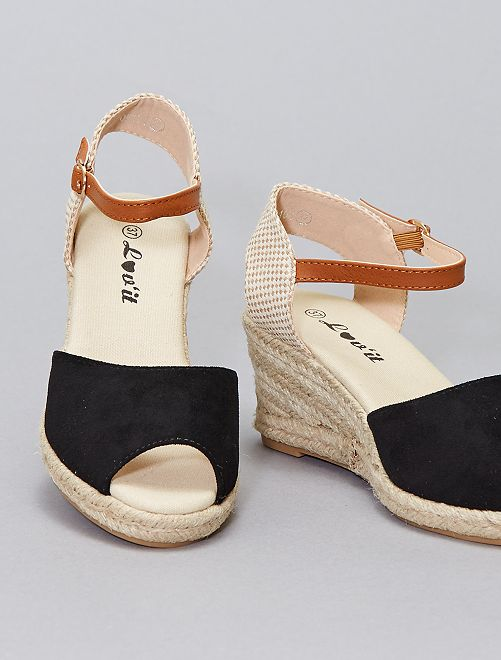 Sandales compensées en corde                                         noir