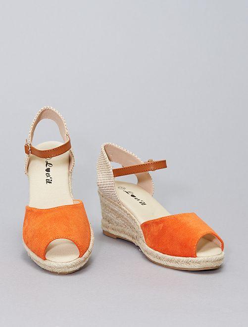 Sandales compensées en corde                                         orange