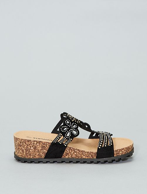 7da3a74332879b ... Sandales compensées en liège vue 5 · Sandales compensées en liège vue  6. Sandales compensées en liège noir Femme