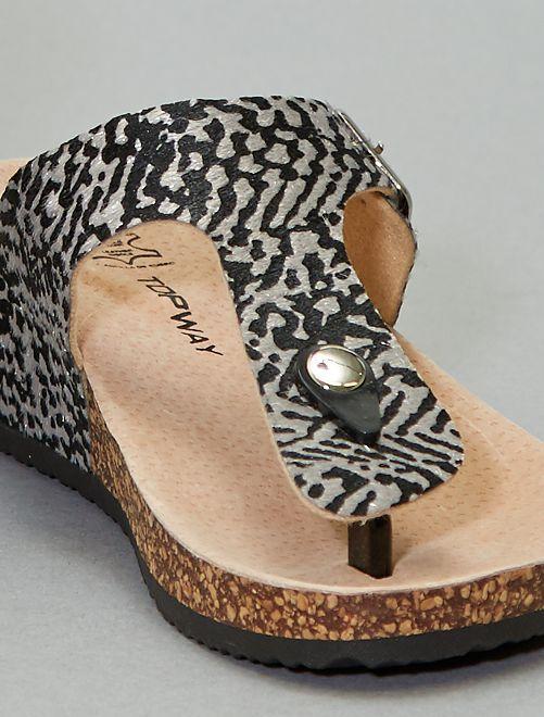 Sandales compensées en liège                             noir