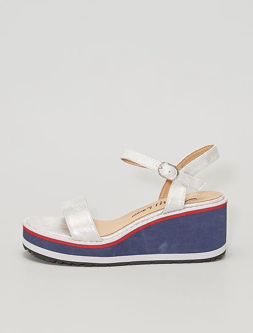 Sandales compensées en mousse                             argent