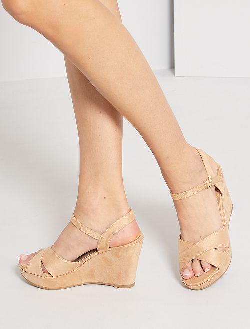 Sandales compensées en suédine                             beige